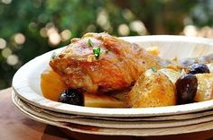 Chicken in wine with olives and young potatoes