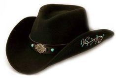 Harley-Davidson® Women s Cowboy Western Hat Cap. Wool Felt. Embellished. HD 7d85395c7fd0