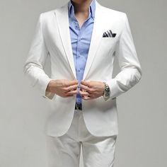 Who said #White was just for the bride? Looking sharp in this formal white slim suit set #groom #groomsmen