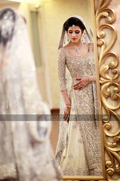Pakistani Wedding sharara in white and silver | Irfan Ahson Photos