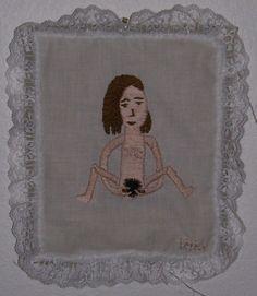 Sheela Na Gig, 2007, by Annie Aube, hand embroidery, www.annieaube.com