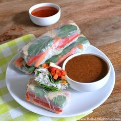 Veggie Spring Rolls with Two Dipping Sauces found at hellolittlehome.com