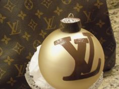 Louis Vuitton Inspired Hand Painted Christmas Tree Ornament LV Monogrammed Canvas Made to Order by TresSuzette on Etsy