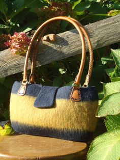 Large Purse Handknit and Felt Wool Navy and Straw  with Leather handles