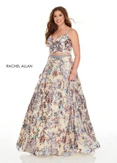 Style 7227 from Rachel Allan Curves is a two piece plus size ballgown in metallic foil tulle with floral sequin beading.