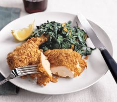 Crispy Chicken and Garlicky Collards- Low calorie recipe,  use. Corn flakes to make it gluten free.
