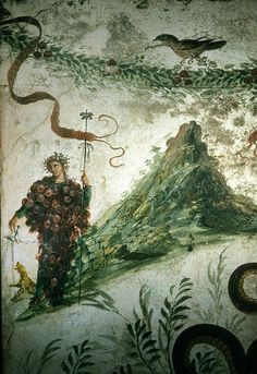 Louis Mazzatenta - Ancient Fresco of Bacchus, Roman God of Wine, and Vesuvius - Fine Art Print World Mythology, Chinese Mythology, Roman Mythology, Greek Mythology, History Of Wine, Pagan Gods, Greek Gods And Goddesses, Bacchus, In Vino Veritas
