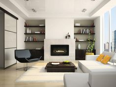 Interesting Direct Vent Fireplace For Your Family Room Decor Ideas: Modern Direct Vent Fireplace Design With Dark Lounge Chairs And White Shag Rug For Modern Family Room Design Room Design, Home, Home Fireplace, Living Room With Fireplace, Minimalist Living Room, Contemporary Gas Fireplace, Indoor Fireplace, Linear Fireplace, Minimalist Living Room Design