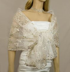 Vintage Ivory Gold Embroidered Lace Wedding Shawl by Kimsically