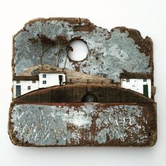 Finally got around to finishing this one today (just needs framing now!) A nice way to end the week, have a top weekend lovely people! Driftwood Sculpture, Driftwood Art, Wooden Art, Wooden Crafts, Wooden Cottage, Wooden Houses, Kirsty Elson, Driftwood Projects, Glitter Houses