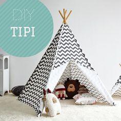 DIY: tipi tent in 9 stappen - Louise AL - Photo Diy Tipi, Diy Teepee Tent, Kids Tents, Teepee Kids, Teepees, Kids Tipi Diy, Kids Wigwam, Sewing For Kids, Diy For Kids