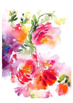 Watercolor Peonies- Original Painting