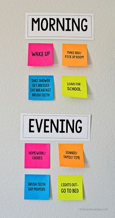 Make your own visual reminders for Kids Daily Routines - perfect for back to school! With Post It Notes with free printables from www.thirtyhandmadedays.com