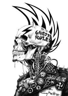 Punk Rock Japanese Pop Art - My Modern Metropolis Japanese Pop Art, Japanese Artists, Traditional Japanese, Art Pop, Illustrations, Illustration Art, Arte Punk, Skull Design, Design Art