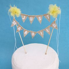 """Yellow fabric Pompom flower """"JUST MARRIED"""" Burlap Cake Banner F192- shabby chic wedding bunting decoration"""