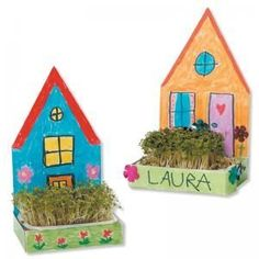 Individual houses with garden Creative Activities, Craft Activities For Kids, Projects For Kids, Diy For Kids, Craft Projects, Crafts For Kids, Kindergarten Art, Preschool Crafts, Diy And Crafts