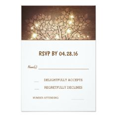 "Tree Lights Rustic Wooden Wedding RSVP Cards 3.5"" X 5"" Invitation Card"