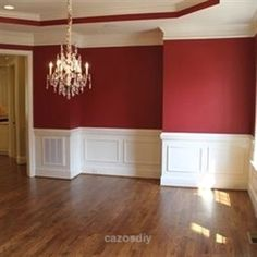 Kitchen Living Rooms Remodeling Dining Room Red Walls Design, Pictures, Remodel, Decor and Ideas - page love the chair rail and the cove ceiling. Design Living Room, Living Room Red, Style At Home, Red Walls, Red Bedroom Walls, Girls Bedroom, Master Bedroom, Red Rooms, Dining Room Walls