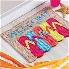 Flip-Flop Doormat crochet pattern from Crochet World June 2013. Order here: http://www.anniescatalog.com/detail.html?prod_id=100880