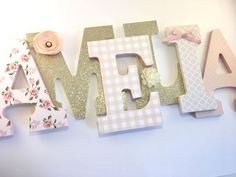 Pink and gold girls nursery letters, blush and gold nursery letters, baby girl nursery letters, gold glitter letters, pink nursery decor Gold Nursery Decor, Baby Nursery Themes, Baby Decor, Girl Nursery, Room Decor, Cream Nursery, Blush Nursery, Welcome Home Parties, Rose Gold Theme