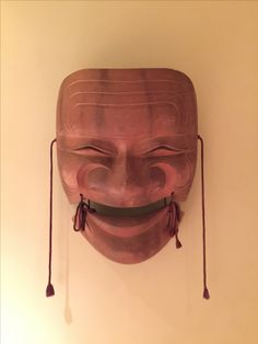 Large wooden Japanese Noh mask for my wall decoration.  Used in a ryokan in Japan as a decorative display.