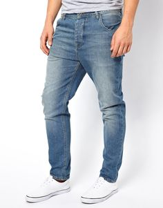 ASOS+Stretch+Tapered+Jeans+In+Mid+Wash