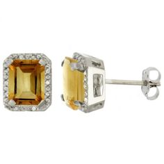 10K White Gold Diamond Natural Citrine Earrings Octagon 8x6 mm