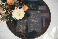 A nature and autumn inspired editorial for the free spirited and creative bride. Calligraphy by Moon & Tide. Captured by Bickerstaff Photograpy.