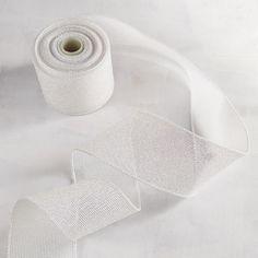 Woven Glitter White Ribbon