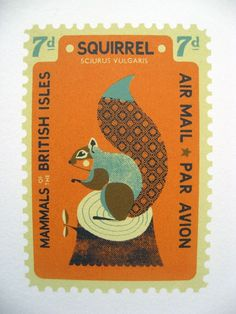 Tom Frost A Mammals of the British Isles stamp themed screenprint on Fabriano paper_squirrel
