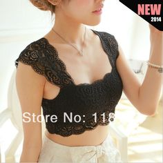 2014 Spring Sexy Lace Crop Top Camisole Pad Hollow-out Lace Soft Vest Bra for Women Built in Bra bustier Tank Tops