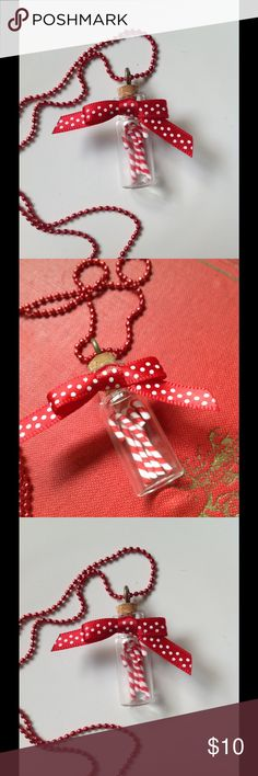 Miniature jar of candy canes Precious little kitsch piece!  Perfect Christmas pendant!  Tiny candy canes in a little jar adorned with a polka dot ribbon!  So fun and made by me! handmade Jewelry Necklaces