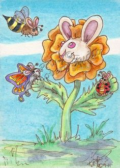 bunny BEE ladybug Butterfly ACEO PRINT EBSQ Kim Loberg fantasy Insect Art Flower #IllustrationArt