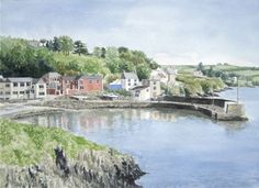 Sara Hodson Fine Art: Glandore, Watercolour, 30 x 40 cm. SOLD.     I have painted the picturesque Glandore Harbour in West Cork a number of times. I like its split personality; quiet in the winter or early season as in this picture, and thronged in summer, the harbour full of boats and people.