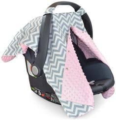 Chevron Car Seat Canopy with Baby Pink Dot Minky and Peekabo.- Chevron Car Seat Canopy with Baby Pink Dot Minky and Peekaboo Opening™ - Newborn Girl Headbands, Nursing Cover Up, Best Baby Shower Gifts, Baby Sewing Projects, Baby Carriage, Free Baby Stuff, Baby Wearing, Baby Car Seats, Kids Fashion