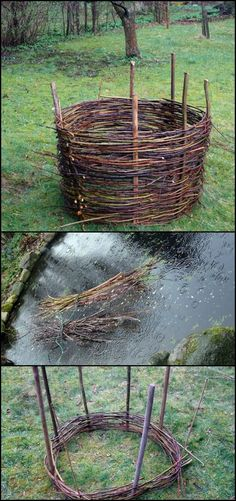 Need a raised garden bed? Here is an idea that's easy to do, beautiful and essentially free! Build your own elevated flower/garden bed by weaving branches and twigs - a wattle raised garden bed. You can also use this technique to make fences and garden edging. Head over to our site to learn how to make a wattle garden bed and be inspired by more wattle ideas! http://diyprojects.ideas2live4.com/2016/01/13/how-to-make-a-wattle-raised-garden-bed/ #RaisedGarden