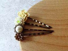 Dreamy Neutral Vintage Inspired Flower Hairpins / Bobbypins : ivory cream, mint green, light brown on Etsy, $14.00