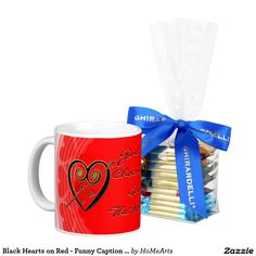 """Black Hearts on Red - Funny Caption - #Personalized_Mug  Ceramic mug w/a snappy #original_design for #Valentines_Day by Leslie Sigal Javorek features black & gold hearts w/ custom text fields for your Sweetie's & your own initials; Candy Apple Red backdrop; Central caption to keep or change as you wish (default= """"Give Me Chocolate: Save The World.""""; is filled w/ Ghiardelli Chocolate Squares. A gift to be enjoyed all year long that, along w/your love, is sure to outlast the occasion you give…"""