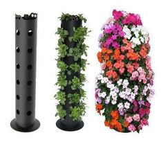 3 Foot Flower Tower - Start with nursery seedlings and before you know it, you'll have the most spectacular floral display on the street. Flower Tower packs 30 plants into a vertical garden. Use for tomatoes, strawberries and herbs, too. Plantador Vertical, Vertical Planter, Vertical Gardens, Outdoor Projects, Garden Projects, Pvc Pipe Garden Ideas, Garden Ideas Diy Cheap, Pallet Projects, Container Gardening