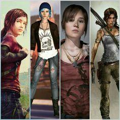 Ellie, Chloe, Jodie e Lara. Last Of Us, Video Game Characters, Female Characters, Horizon Zero Dawn Wallpaper, Tom Raider, Skyrim Game, Beyond Two Souls, Zootopia Comic, Rise Of The Tomb