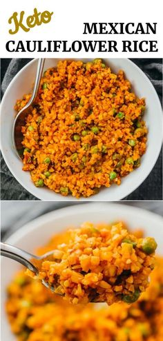 Learn how to make the best restaurant style Mexican rice using this quick and easy vegetarian recipe. It uses cauliflower rice as a healthy alternative to white rice, making this keto and low carb. Flavorful, simple, and homemade.