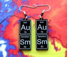 Awesome AuSm  periodic table earrings