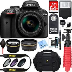 Nikon D3400 242 MP DSLR Camera  AFP DX 1855mm VR NIKKOR Lens Kit  Accessory Bundle 64GB SDXC Memory  SLR Photo Bag  Wide Angle Lens  2x Telephoto Lens  Flash  Remote  TripodFilters Black -- Learn more by visiting the image link.