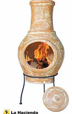 La Hacienda Clay Chiminea with Owl Design This attractive La Hacienda Clay Chiminea with Owl Design will keep you warm whilst looking great. This chiminea add a stylish edge to any garden or patio area. Clay. Stand included. Grill not include http://www.comparestoreprices.co.uk/heaters/la-hacienda-clay-chiminea-with-owl-design.asp