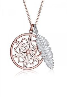 Elli Women Necklace 925 Sterling Silver Rose Gold Plated Dream Catcher Feather L