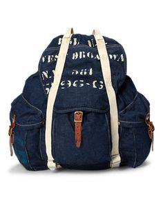 dd2c75ad35 Stenciled Denim Backpack Zaino Denim, Zaino A Tracolla, Cartella, Moda  Senza Tempo,