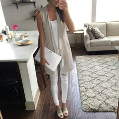 1.State draped gray vest and white distressed jeans