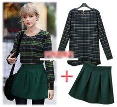 England Style Thicken Plaid Shirt High Waist Wool Skirt Leisure Set