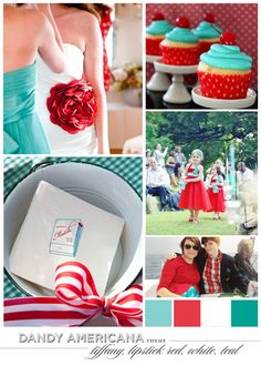 DANDY AMERICANA: tiffany blue, lipstick red, white, and teal