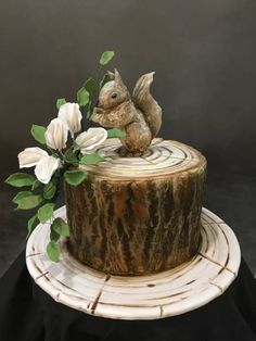 Handpainted Squirrel log cake by Sue Deeble Wood Cake, Unique Cakes, Creative Cakes, Beautiful Cakes, Amazing Cakes, Fondant Cakes, Cupcake Cakes, Seven Up Cake, Cake Decorating Amazing
